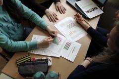 SchülerInnen bei der Konzeptionierung des Plakates